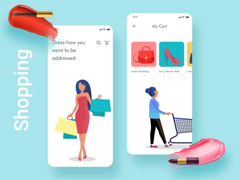 Shopping App shopping vector illustration iphone animation ios ux ui