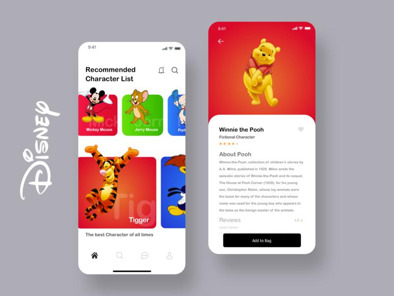 Disney Character App UI character colors appui disney ux ios ui