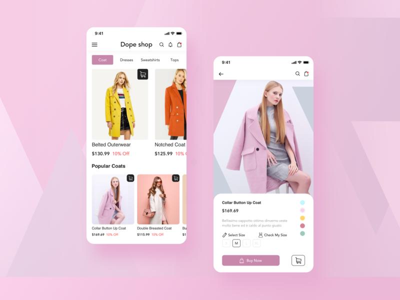 Women's Clothing App coat ios ux ui woman ecommerce app