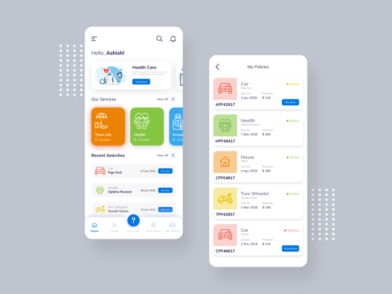 Insurance Policy App toolbar ux ui policy insurance