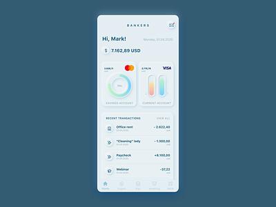 Bonkers for Bankers 2020 trend banking dashboard bankingapp banking ui design neumorphism neumorphic design uxui