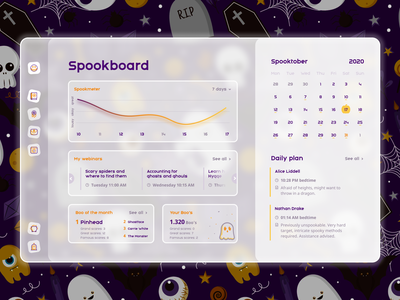 Spooky dashboard quirky cute frosted glass 2020 trend spooktober spooky halloween design halloween uidesign dashboard dashboard ui