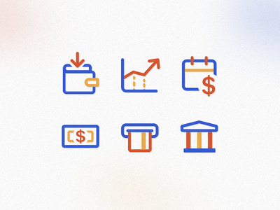 Finance icons iconset banking app banking ui design uidesign retro branding fintech app fintech financial finance icon icons
