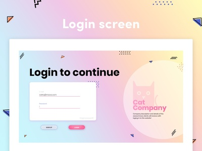 Login screen design memphis design login login page login design ux design ux  ui uidesigner uidesign freebie sketch ui