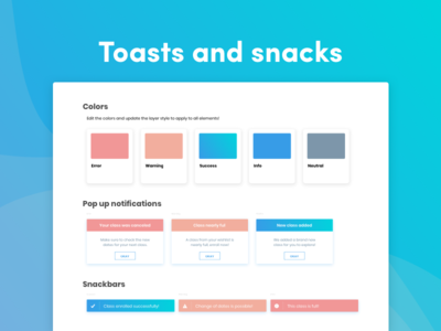 Toast pop ups and snackbars warning message notifications error message toast snackbar ux designer ux design ux  ui uidesigner uidesign design ui sketch freebie