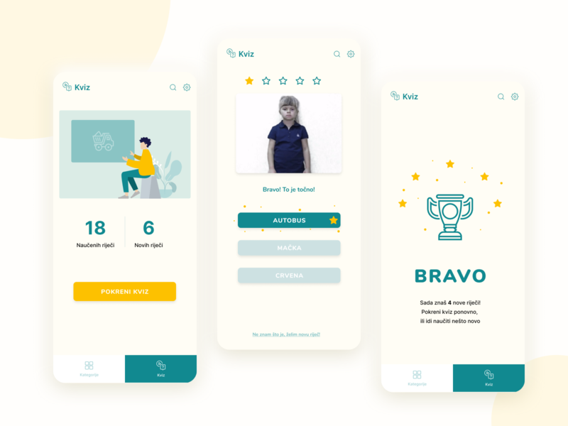 Miha - sign languague learning app quiz mobile app design mobile app user testing quiz app quiz ux  ui ux designer uidesigner uidesign sign language kids app design