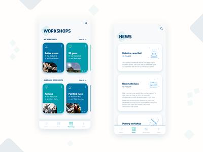 Workshops tracking app ui ux app design clean ui clean custom icon design custom icons newsfeed user testing ui design uxdesign uxui mobile app mobile ui app workshops