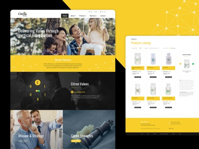Pharmaceutical company website flat minimal user experience user interface pharmacy products website