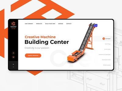 Creative Machine Building Center ux user interface typo slider minimal typography flat design 3d