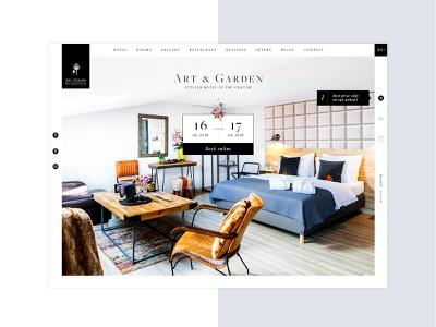 Art&Garden Web Design ornamental minimal black and white italic webdesign hotel design website