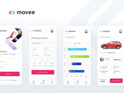 Movee - transport comparing app mobile mobile app design mobile app branding logo application user experience ui ux flat minimal design user interface