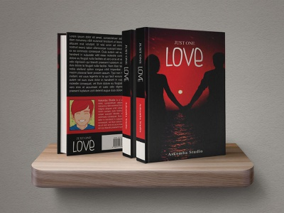 Just One Love   Book Cover Template ocean sea book studio honey red dark couple heart loving beach moon teenager youngteen teen lover love template cover askomba