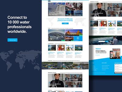 IWA Network corporate flatdesign grid layout grid news blog events worldmap organization blue light dark ui uiuxdesign uiux watersector water ngo website landingpage