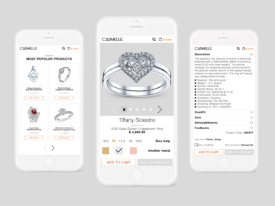 Product page for jewelry shop (mobile version)