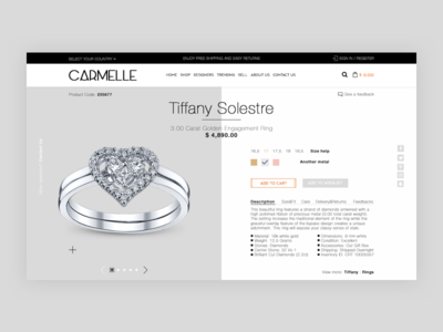 Product page for jewelry shop