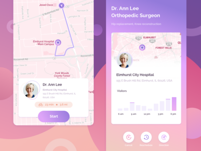 Scheduling and navigation to doctor`s appointment app concept