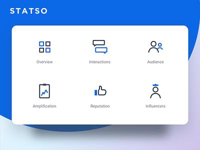 Statso - Social Listening tool iconography icons ux ui analytics monitoring listening social media social web app