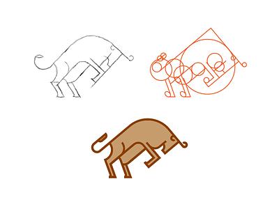 Bull Mark construction identity brand branding mark iconic bull typography type icon logo