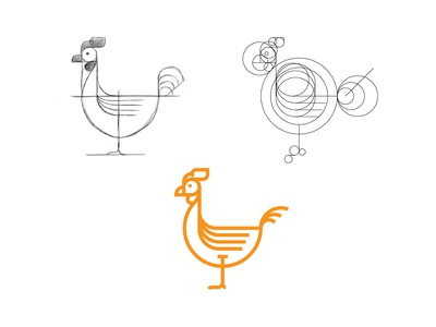 Rooster Mark construction identity brand branding mark circle grid chicken rooster symbol type icon logo