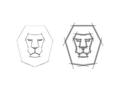 Lion mark construction ratio golden mark circle minimal animal branding lion iconic symbol icon logo