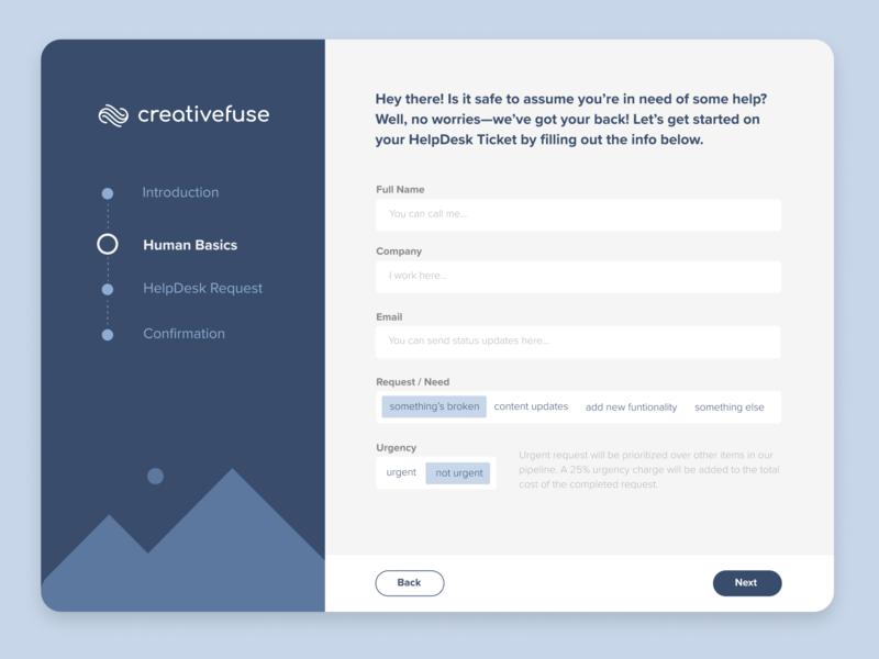 HelpDesk Form •CreativeFuse web forms figma wireframe form