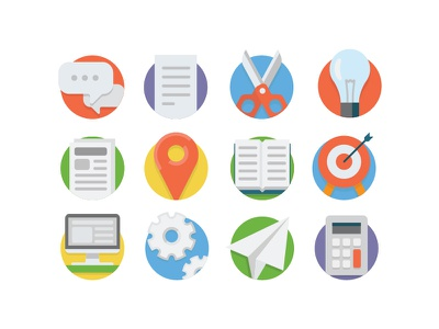 Universal Flat Icons business universal icons set