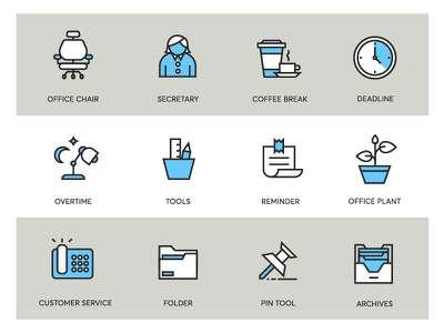 Office Icons flat design set icons office