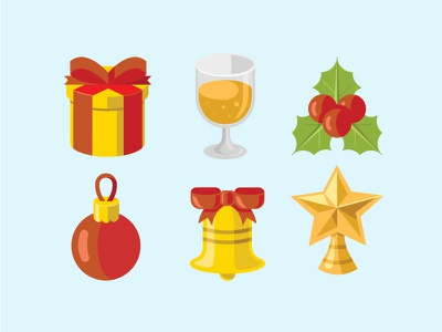 Christmas Flat Icon bell beer gift icons christmas