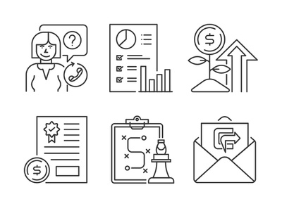 Marketing and management line icons mail strategy graph money icon set
