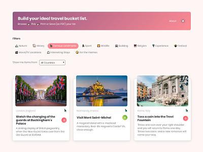 Travel Bucket List Website   Flat Design flat design