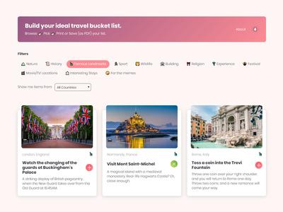 Travel Bucket List Website   Flat Design