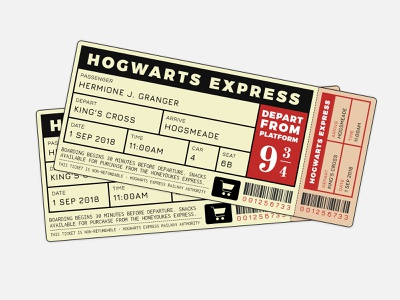 Hogwarts Express Ticket ticket flat design harry potter