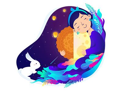 Mid Autumn Festival design star leaves illustration moon cake lantern jade rabbit the moon lady moon