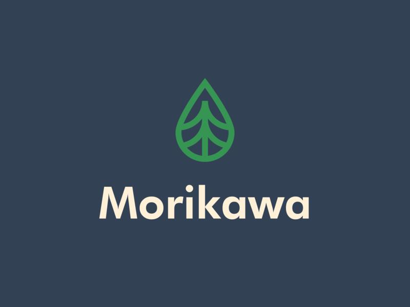 Morikawa | Logomark cleaning hygiene healthy food clean modern lineart minimal drop river forest vector illustration logomark typography brand identity mark brand symbol icon logo