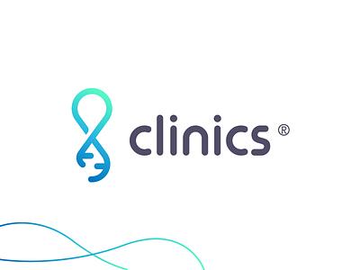 Clinics modern minimal software application hospital clinics dna lineart brand identity mark brand symbol icon logo