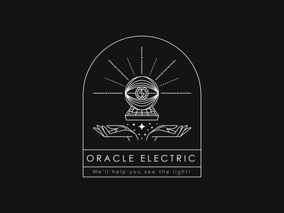 Oracle Electric electricity electrician sacred geometry esoteric lineart vector illustration typography brand identity mark brand symbol icon logo