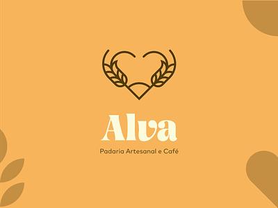 Alva Artesanal   Logomark illustrator sun love wheat food restaurant croissant pastry bread artesanal cafe bakery minimal lineart symbol icon logo