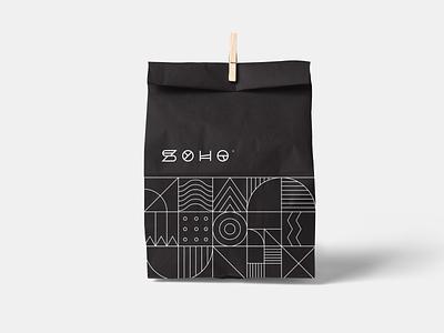 Soho   Branding print paper bag packaging design bakery geo pattern minimalism geometry lineart vector brand identity mark brand symbol icon logo