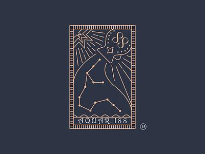 Aquarii88 - Badge aquarius spiritual business divination constellation lineart vector brand identity mark brand symbol icon logo