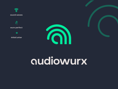 Audiowurx works perfect sound waves futuristic modern minimal lineart creative mixing entertainment recording industry audio engineering typography brand identity mark brand symbol icon logo
