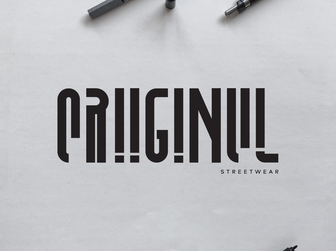 ORIIGINUL Logotype hype streetwear monochrome customtype logotype vector design typography illustration logomark brand identity mark brand symbol icon logo