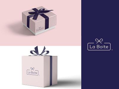 La Boite 2 lineart box giftshop gift elegant minimal modern vector illustration typography logomark brand identity mark brand symbol icon logo