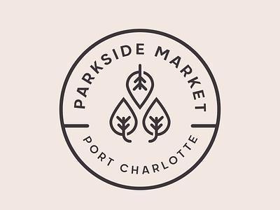 Parkside Market   Badge Logo identity clean minimal bohemian lineart logo badge organic food jewelry accessiries goods handmade open air market park