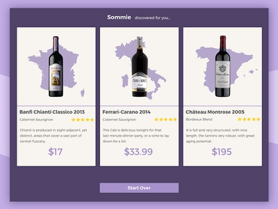 Sommie : ipad app : wine choice search illustration red purple glass bottle screen ux design ui app wine