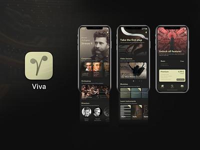 Viva - Classical Music App dark ui dark pattern mobile music app app concept digital design digital ux ux design user interface userinterface uidesign uiux vivaldi lessons streaming classical music
