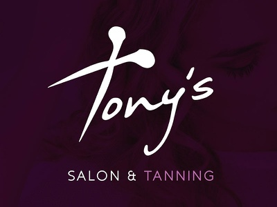 Tony's - Salon & Tanning logotype style italian beauty haircut hair scissor purple design logo tanning salon