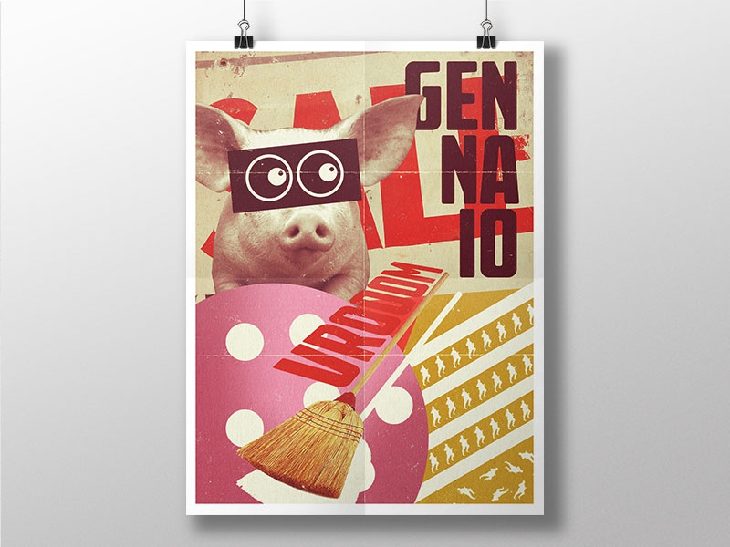 January! vintage january pig mockup design graphic poster