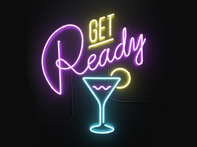 Get Ready icon get ready drink 3d icon yoloapp yolo neon design render octane c4d aforox
