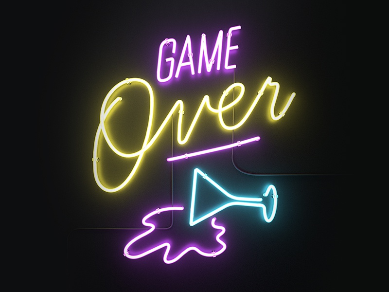Game Over Icon game over 3d icon yoloapp yolo neon design render octane c4d aforox