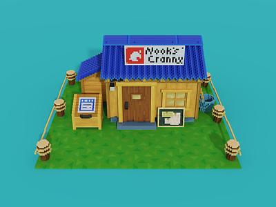 Voxel art of Nook's Cranny from New Horizons video games video game videogames videogame tom nook cranny nooks crossing animal 3d art model 3d pixelart pixel art voxel art voxelart voxels voxel